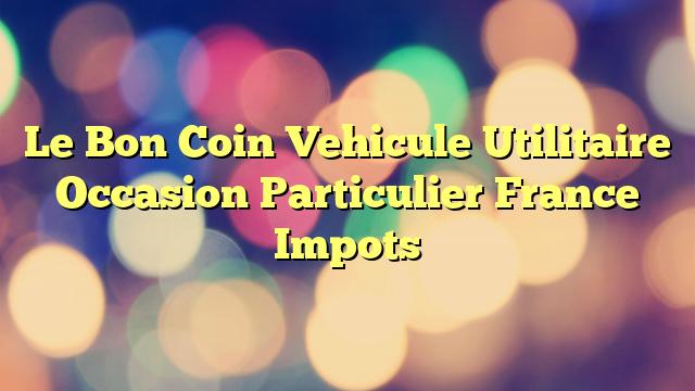 Le Bon Coin Vehicule Utilitaire Occasion Particulier France Impots