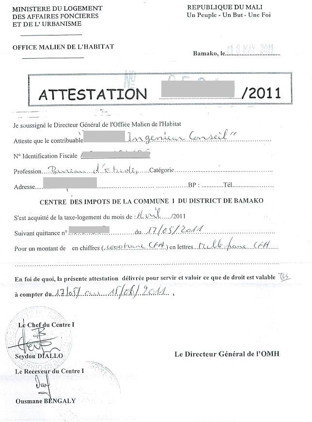 Attestation Sur L Honneur