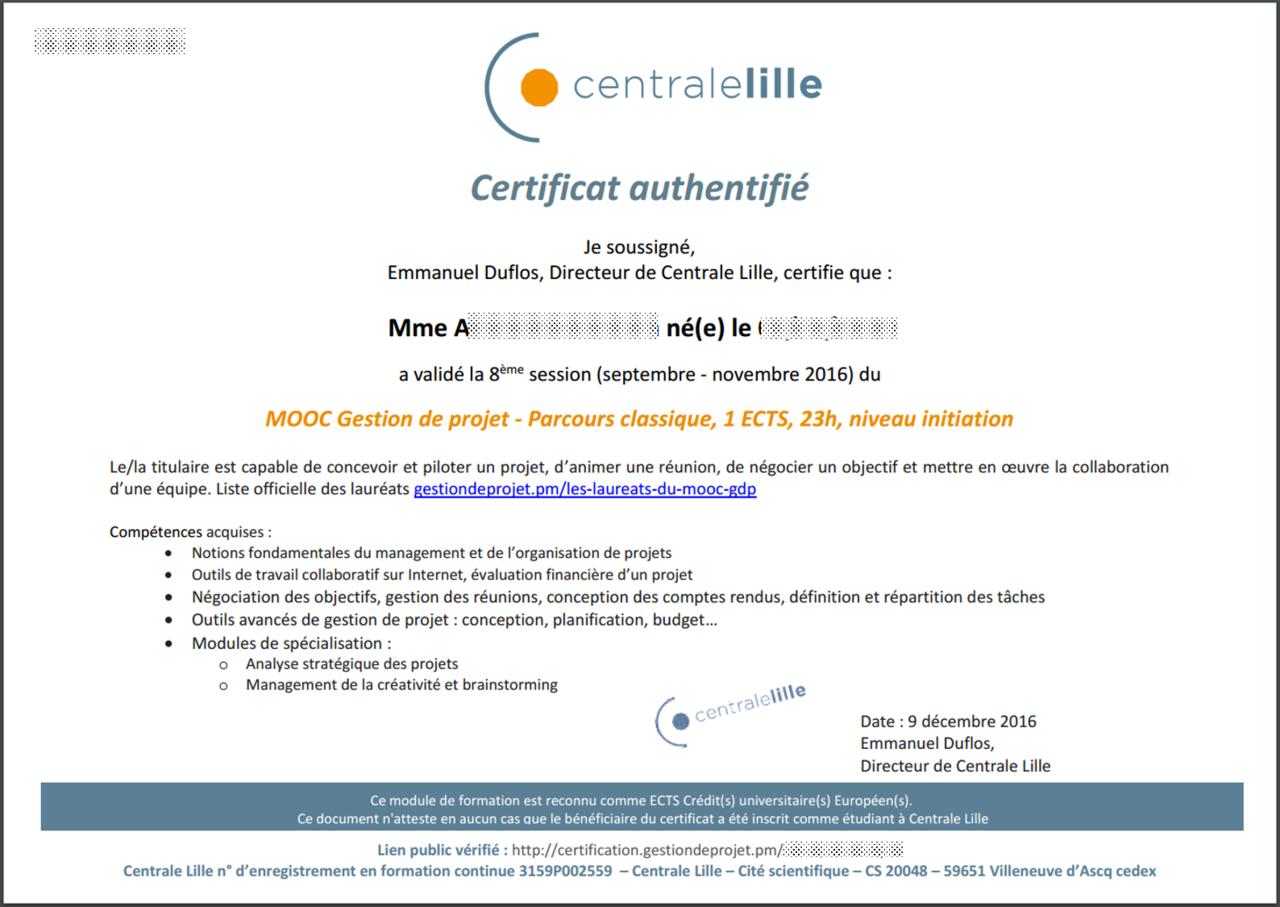 certificat non gage