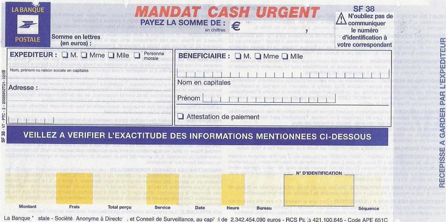 mandat cash urgent la poste