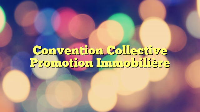 Convention Collective Promotion Immobilière