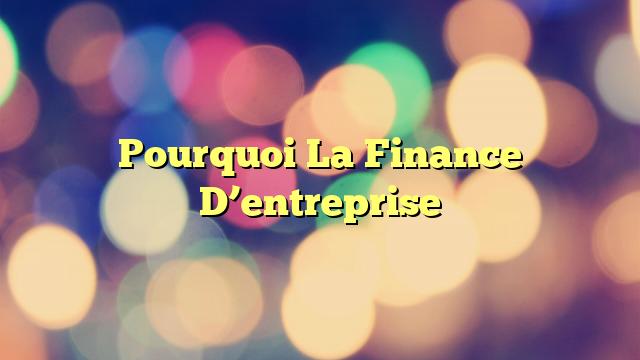 Pourquoi La Finance D'entreprise