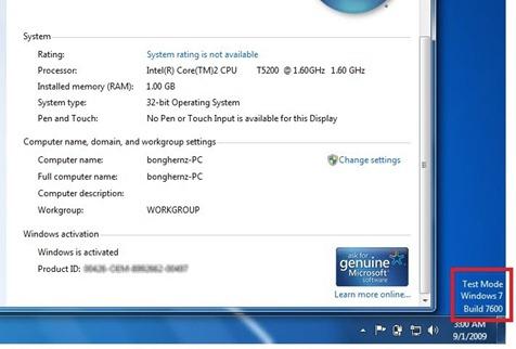 activer test mode windows 10